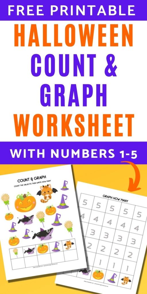 """text """"Free printable Halloween count and graph worksheet with numbers 1-5"""" with a preview of an I-spy game with Halloween images and a graphing page with space to graph up to 5"""
