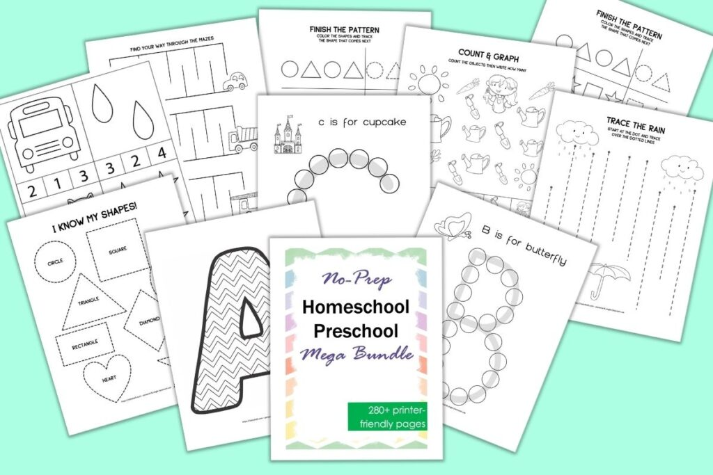 A preview of 11 printable preschool worksheets on a light green background. Printables include alphabet coloring pages, complete the sequence, do a dot alphabet pages, and fine motor tracing pages