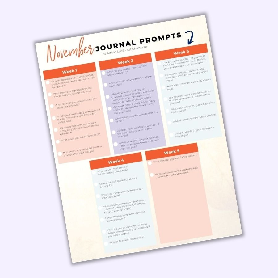A preview of a printable page with 30 journal writing prompts for November. The page is on a light purple background.