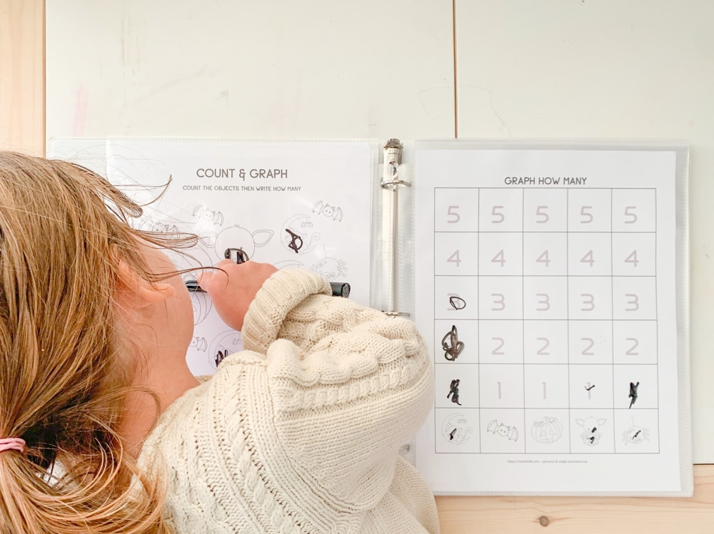A top down image of a girl wearing a white sweater coloring on a count and graph printable worksheet using a dry erase marker
