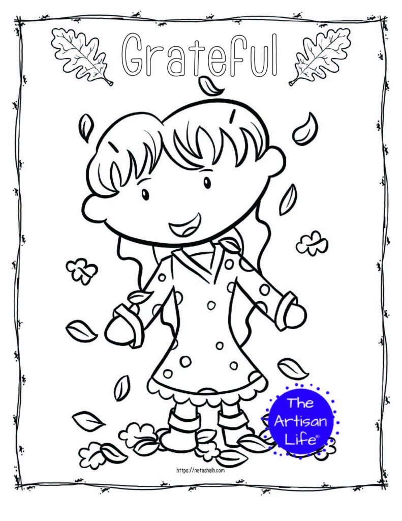 """A printable thanksgiving coloring page with a girl playing in leaves and the text """"grateful"""""""
