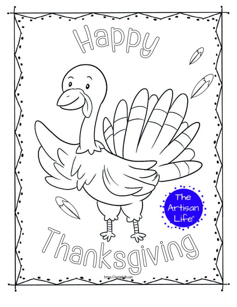 """A printable thanksgiving coloring page with a waving turkey and the text """"Happy Thanksgiving"""" in bubble letters to color"""