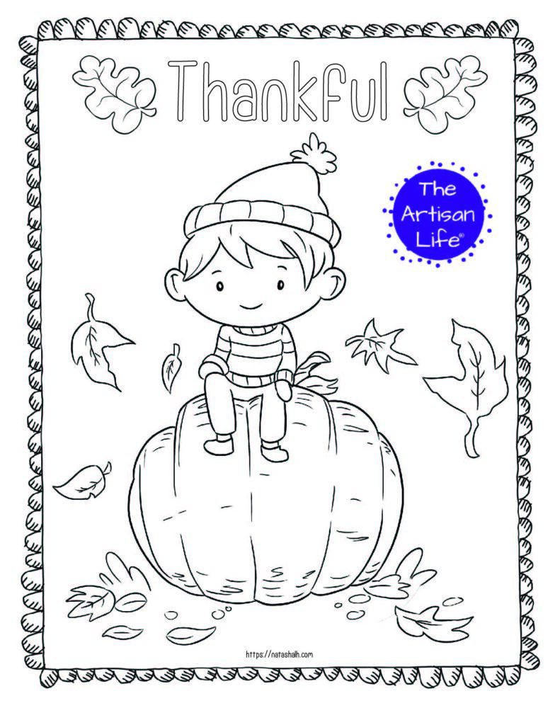 """A printable thanksgiving coloring page with a boy sitting on a pumpkin and the text """"thankful"""" above"""