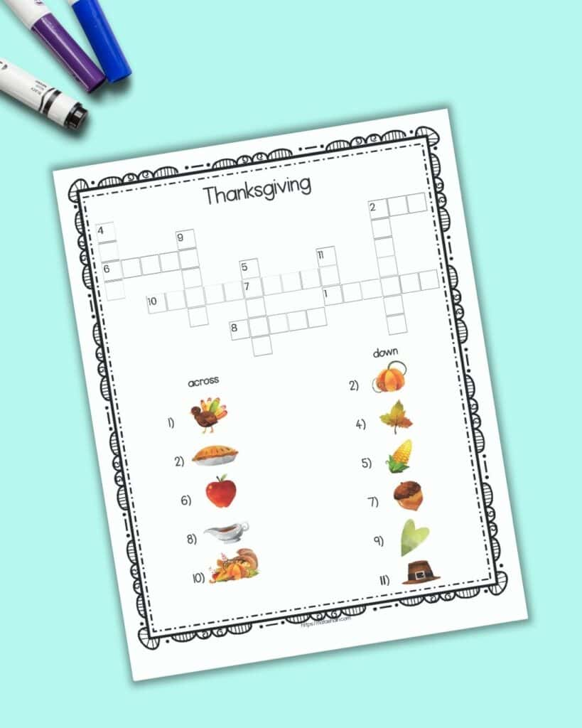 A printable Thanksgiving crossword puzzle with pictures for clues instead of text-based clues. The page is shown on a teal background.