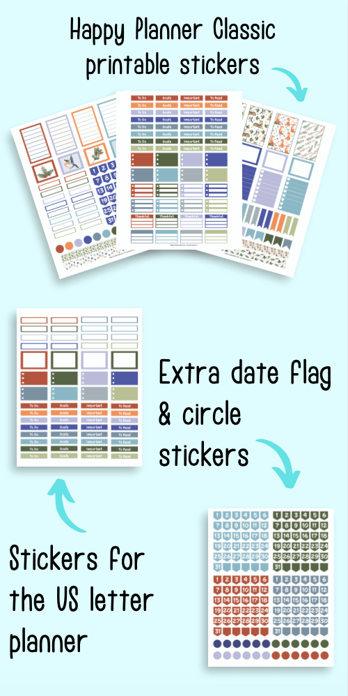 five pages of printable stickers for January. At the top are three pages sized for the Happy Planner Classic. Below are letter-sized stickers and extra colors of date flags and circle stickers. The flatly mockup pages are on a light blue background.