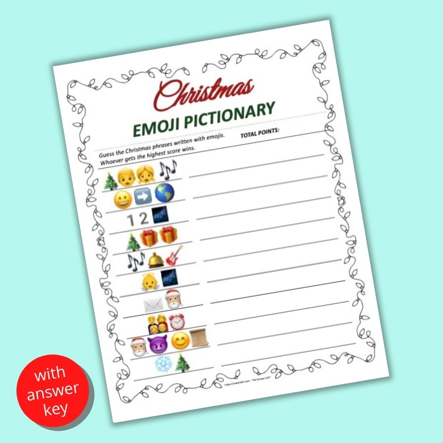 A flatly mockup of a printable Christmas picture emoji pictionary game with 10 Christmas phrases written in emojis to decode. The printable is on a teal background.