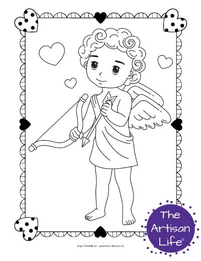 A Valentine's Day coloring page for kids with a cute cartoon Cupid standing with his bow and an arrow surrounded by hearts