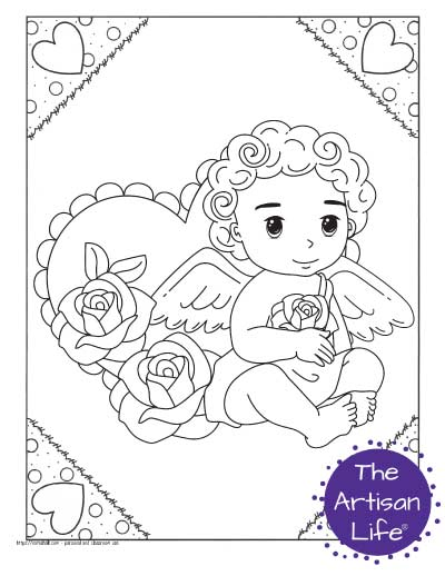 A Valentine's Day coloring page for kids with a cute cartoon Cupid sitting down with roses