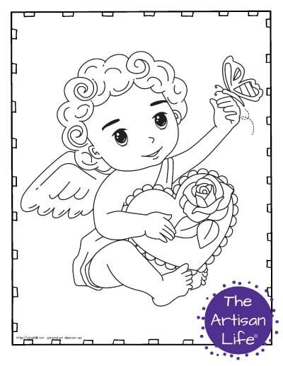 A Valentine's Day coloring page for kids with a cute cartoon Cupid sitting down holding a box of chocolates