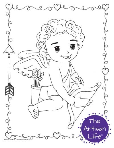 A Valentine's Day coloring page for kids with a cute cartoon Cupid sitting with his bow and quiver of arrows