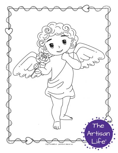 A Valentine's Day coloring page for kids with a cute cartoon Cupid standing with a rose