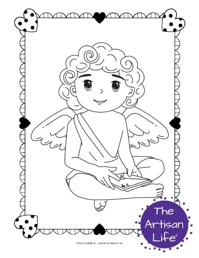 A Valentine's Day coloring page for kids with a cute cartoon Cupid sitting and holding a stack of Valentine envelopes
