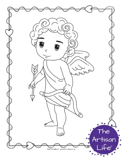 A Valentine's Day coloring page for kids with a cute cartoon Cupid standing up and holding his bow and arrow