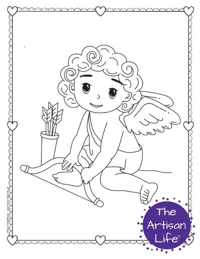 A Valentine's Day coloring page for kids featuring a cute cartoon Cupid sitting down holding his bow next to a quiver of arrows