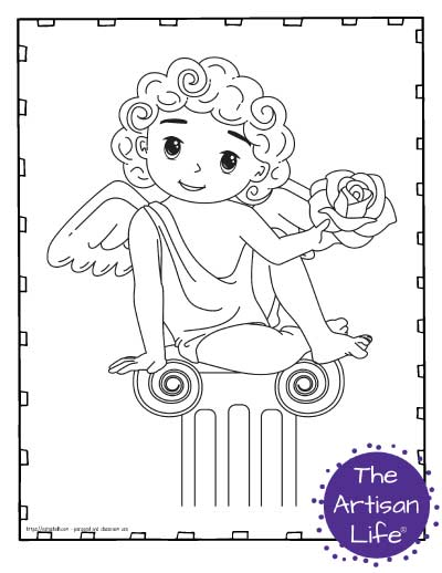 A Valentine's Day coloring page for kids featuring a cute cartoon Cupid sitting on an Ionic column with a rose