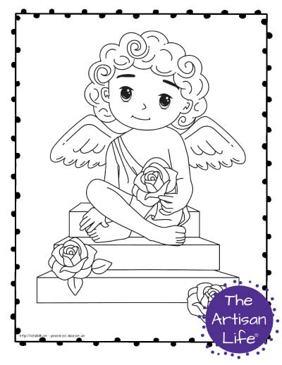 A Valentine's Day coloring page for kids featuring a cute cartoon Cupid sitting on steps with roses.