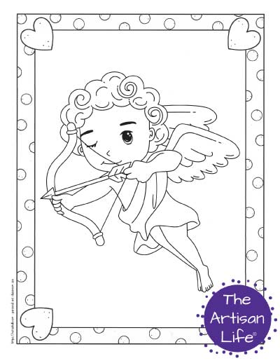 A Valentine's Day coloring page for kids with a cute cartoon Cupid flying and taking aim with his bow