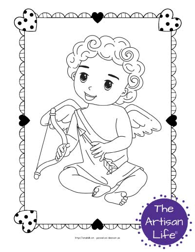 A Valentine's Day coloring page for kids with a cute cartoon Cupid sitting down holding his bow and arrow