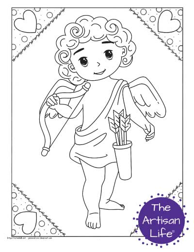 A Valentine's Day coloring page for kids with a cute cartoon Cupid standing holding his bow