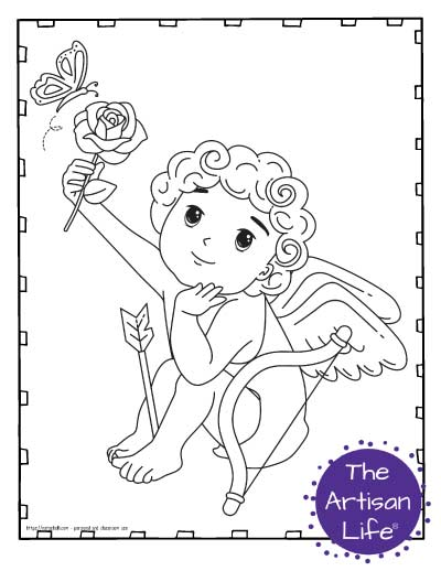 A Valentine's Day coloring page for kids with a cute cartoon Cupid sitting with an arrow between his feet. He is holding a rose up to the air and a butterfly is flying towards the rose.