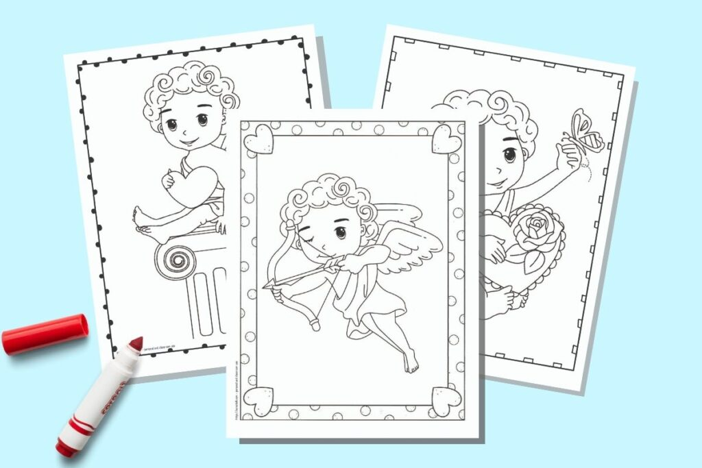 Three printable Cupid coloring pages for Valentine's Day on a blue background with an uncapped red children's marker. The coloring pages each have a doodle frame and a cute cartoon illustration of Cupid in black and white to color.