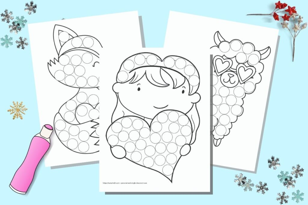 Free Printable Valentine S Day Do A Dot Marker Coloring Pages The Artisan Life