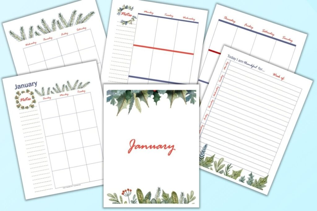 A flatly mockup of 6 printable January planner pages, including a vertical two page monthly layout, gratitude journal page, cover page, and two page vertical weekly spread. The planner pages feature watercolor greenery and are shown on a light blue background.