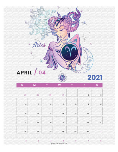 A printable monthly calendar page for April 2021 with an Aries theme. The illustrations are pink, purple, and blue.