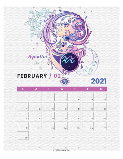 A printable monthly calendar page for February 2021 with an Aquarius theme. The illustrations are pink, purple, and blue.