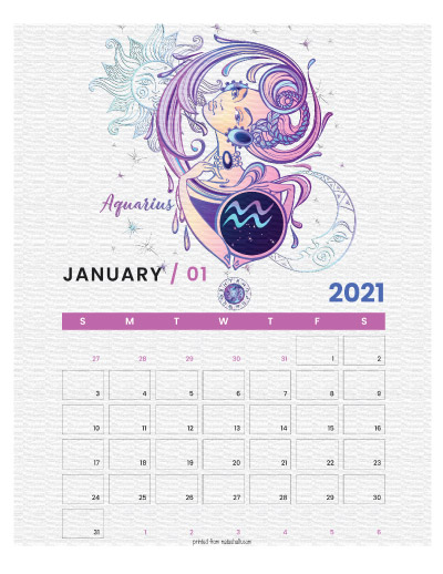 A printable monthly calendar page for January 2021 with an Aquarius theme. The illustrations are pink, purple, and blue.