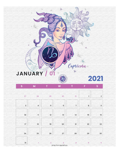 A printable monthly calendar page for January 2021 with a Capricorn theme. The illustrations are pink, purple, and blue.