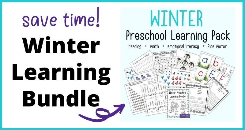 """text """"save time! Winter learning bundle"""" with an arrow pointing at an image on a blue background with the head """"winter preschool learning pack reading - math - emotional literacy - fine motor"""" above a preview of printable preschool worksheets with a winter theme."""