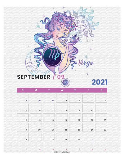 A printable monthly calendar page for September 2021 with a Virgo theme. The illustrations are pink, purple, and blue.