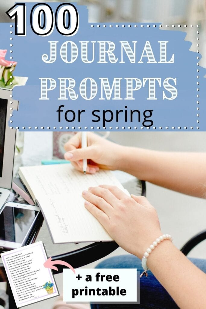 """text """"100 journal prompts for spring"""" over an image of a woman writing in a notebook at a cafe table."""