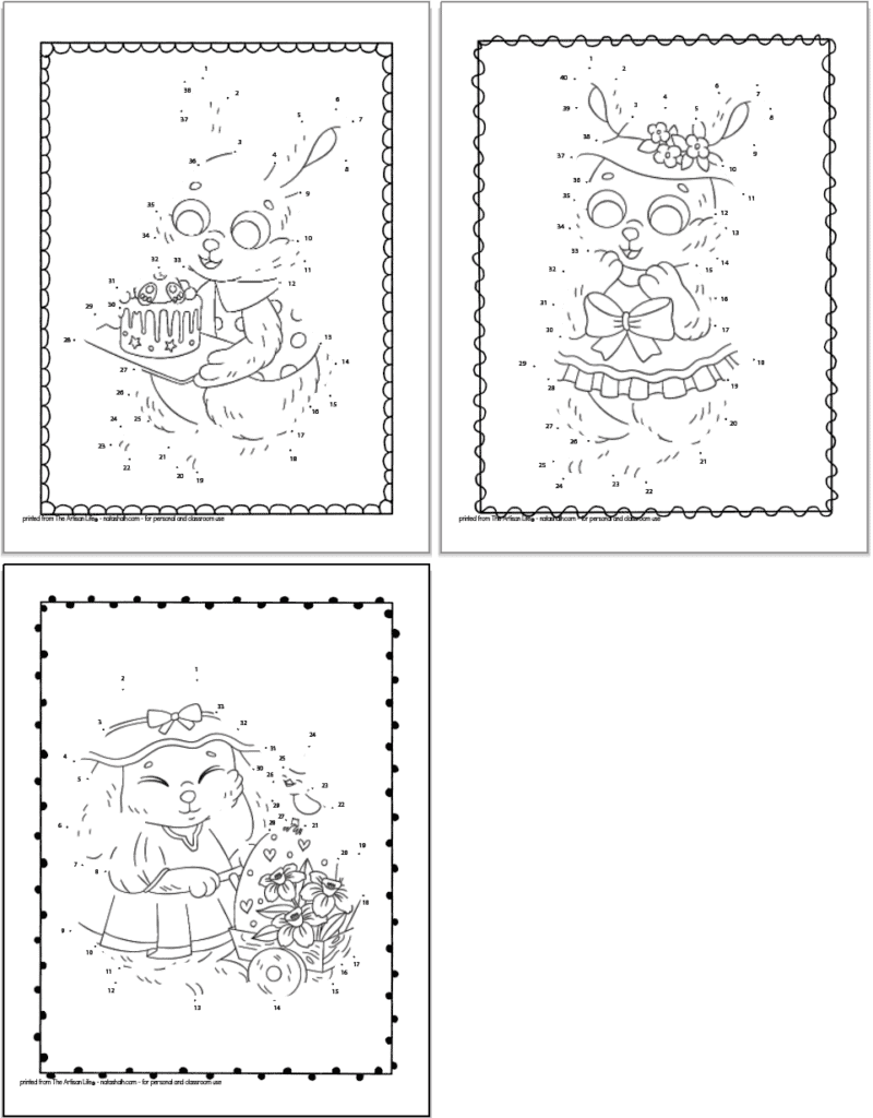 Three printable Easer bunny connect the dots images for children to complete and color. One funny is holding a cake, another is wearing an Easter hat, and the final bunny is pushing a wheelbarrow with an easter egg inside.