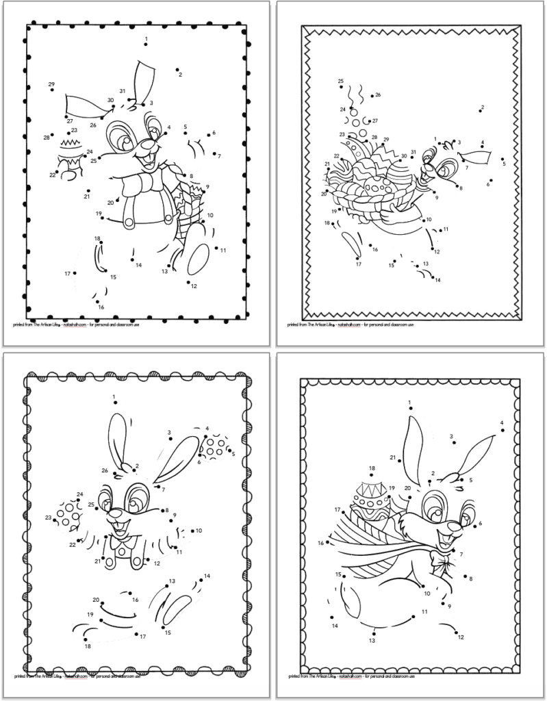 A 2x2 grid with free printable Easer bunny dot to dot pages with 20-30 dots to connect on each page. The Easter bunnies are all carrying Easter eggs.