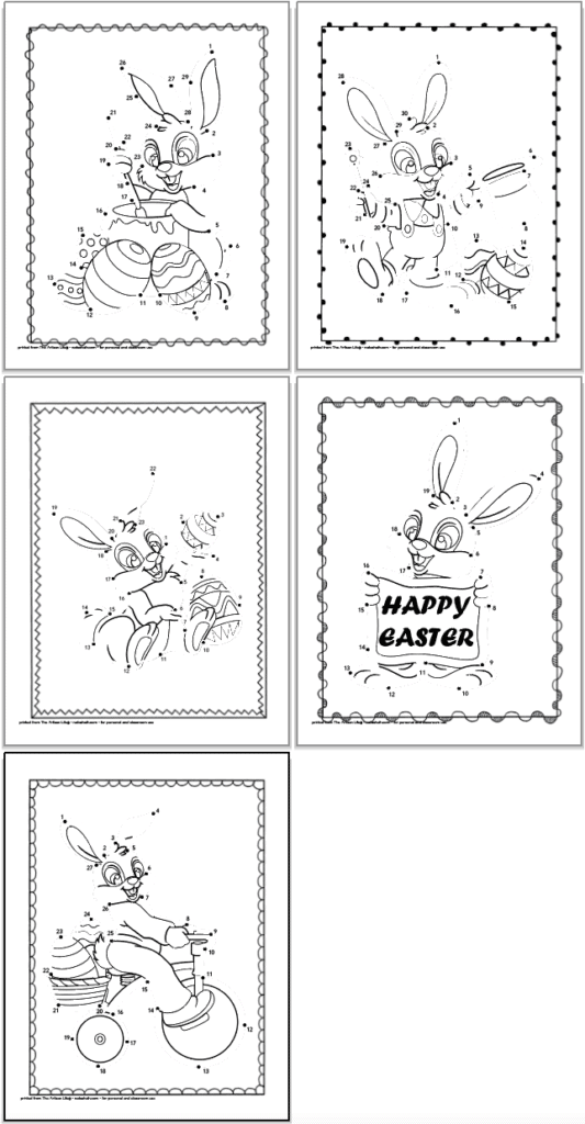 A 2x2 grid of Easter bunny connect the dots images for children with a fifth page alone on the bottom row. Each page has 20-30 dots to connect to complete and Easter bunny image.