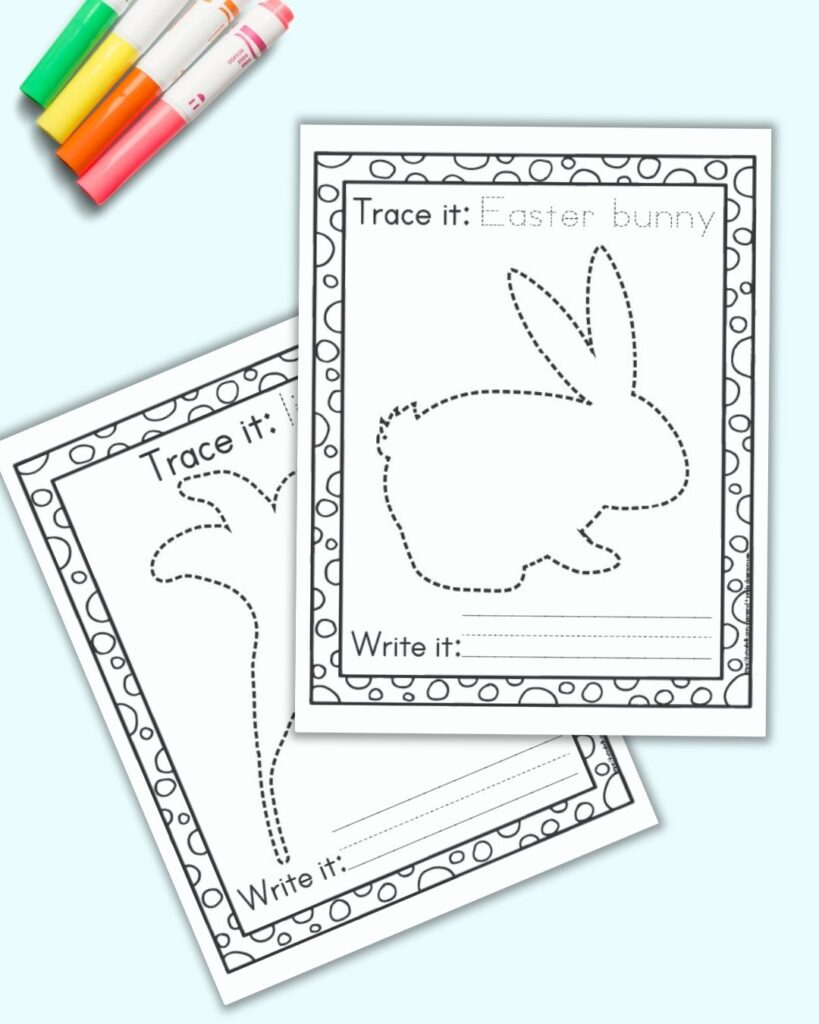 Two free printable Easter tracing pages on a blue background with colorful children's markers. The pages show an Easter bunny to trace and an Easter lily.