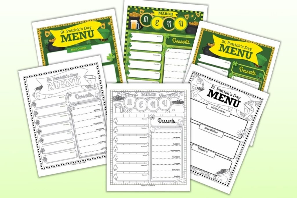A preview of six printable March menu planner pages. Three are color and three are black and white. Pages include A weekly March menu planner A St. Patrick's Day menu planner A St. Patrick's Day themed weekly meal planner printable.