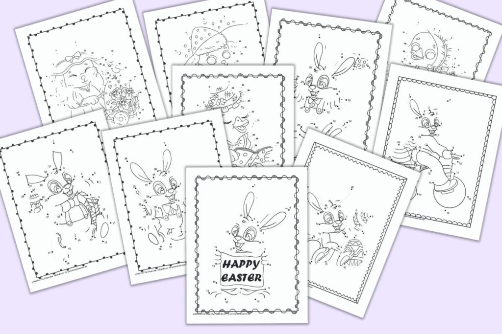 A preview of 10 printable Easter connect the dots images for children. The pages feature Easter bunnies, ducks, and lambs with dots to connect to complete the image. The pages are shown on a light purple background.