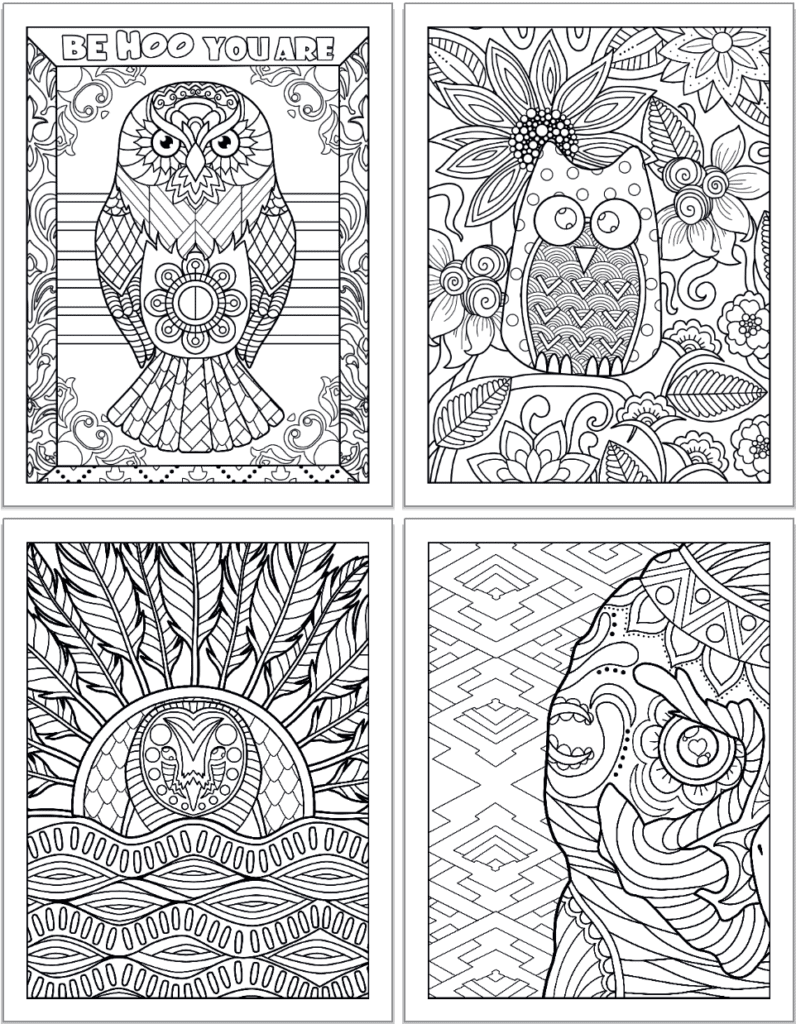 """A 2x2 grid of adult owl coloring pages featuring: An owl and the quote """"be hoo you are,"""" a cartoon-y owl on a branch in front of flowers, an owl rising above waves, and a close up of half an owl's face."""