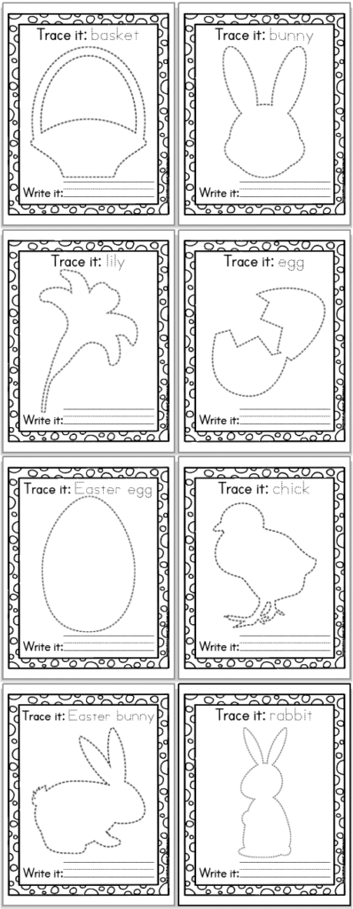 Eight printable Easter tracing pages for preschoolers and kindergarteners. The pages are in a 2x4 grid. Each page has an Easter related image to trace, the vocabulary word in a doted font to trace, and blank lines for independent writing.