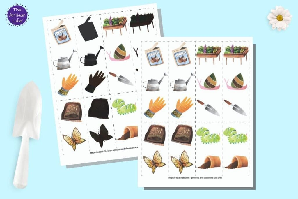 """A preview of two free printable garden matching game pages. Each page has pairs of 10 garden related images inside dotted squares to cut out and use as a matching card game. The page in back has half of the images in color and the other half """"blacked out"""" for a shadow matching game. The two printables are on a blue background with a white trowel and a white daisy flower."""