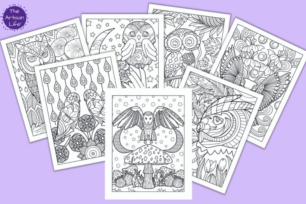 A preview of 7 printable detailed owl coloring pages for adults on a purple background. The front and center owl is above a mushroom with two crescent moons and stars in the background. Behind are more coloring pages with owls featuring both close ups and more broad views of owls with floral backgrounds to color.