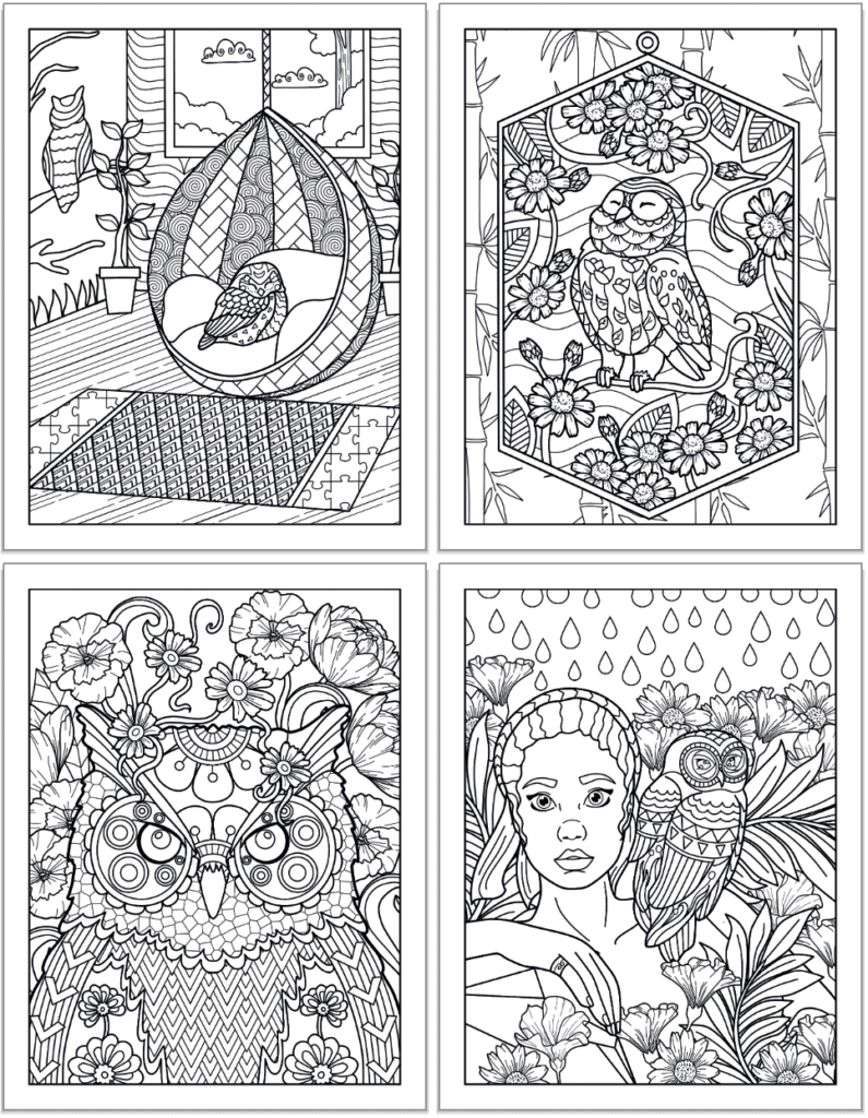 A 2z2 grid preview of four printable owl coloring pages for adults. The pages show: An owl asleep in a hanging egg chair, an owl with flowers, a close up of an owls' face with flowers in the background, and an owl on a woman's shoulder.