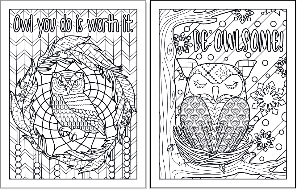 """Two owl coloring pages. On the left is a an owl in a wreath of feathers with the words """"Owl you do is worth it"""" above. On the right is an owl sleeping on a branch with snow in the background and the words """"Be owelsome!"""" in bubble letters to color."""