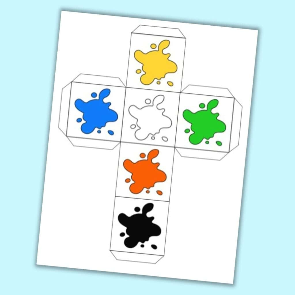 A printable die with colorful paint splashes instead of numbers.