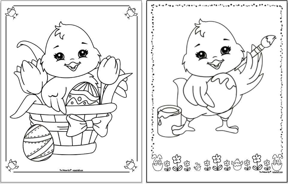 Two cute Easter chick coloring pages. Each chick is inside a decorative frame to color. The page not eh left has a chick in a basket with eggs and and two tulips. The chick on the right is panting an egg.