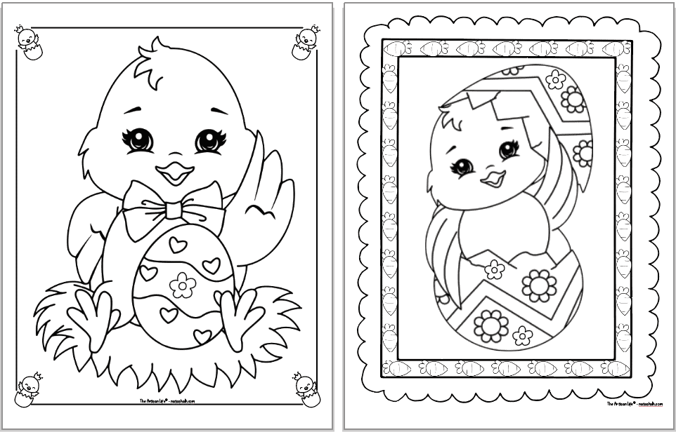 Two cute Easter chick coloring pages. Each chick is inside a decorative frame to color. The chick on the left is sitting on hay with an Easter egg. The chick on the right is coming out of an egg decorated with flowers.