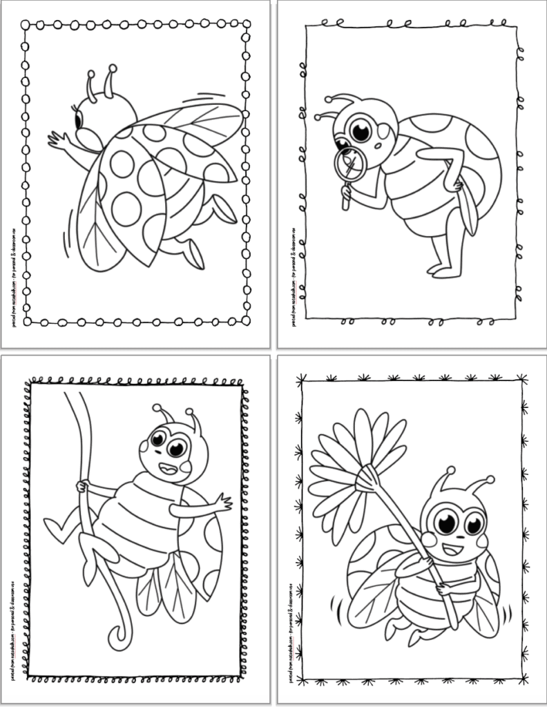 Four free printable ladybug coloring pages for kids in a 2x2 grid. The pages show: a ladybug flying away, a ladybug with a magnifying glass, a ladybug riding on a vine, and a ladybug flying with a daisy